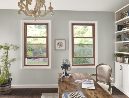 double hung wood window in office